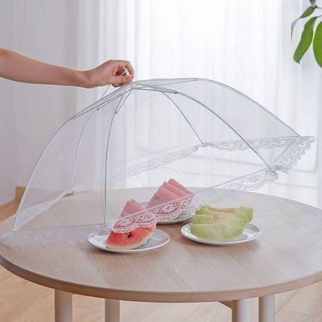 Голям шестстранен чадър с мрежа - покривало за храна на открито