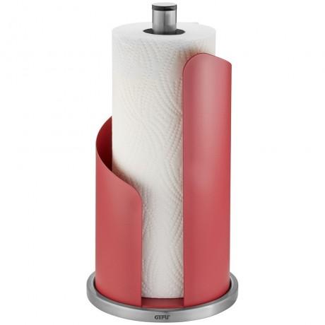 Малинено червена стоманена стойка за кухненска ролка GEFU от серия CURVE