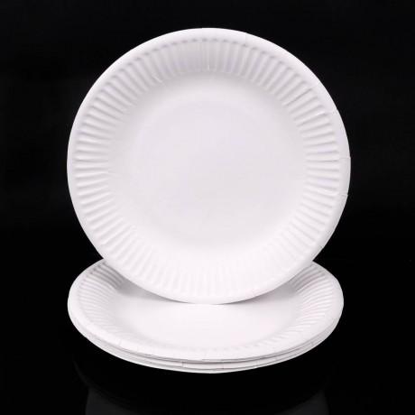 10 бр. кръгли хартиени чинийки с диаметър 20 см. за еднократна употреба
