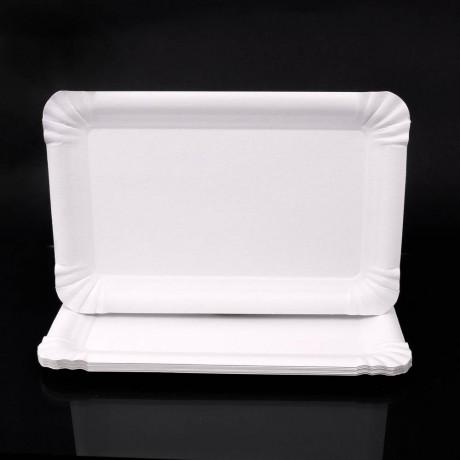 10 бр. правоъгълни хартиени чинийки с размери 20 х 13 см. за еднократна употреба