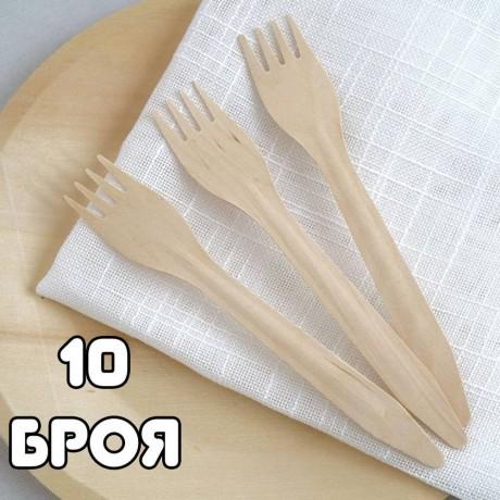 10 бр. дървени ЕКО вилици за еднократна употреба