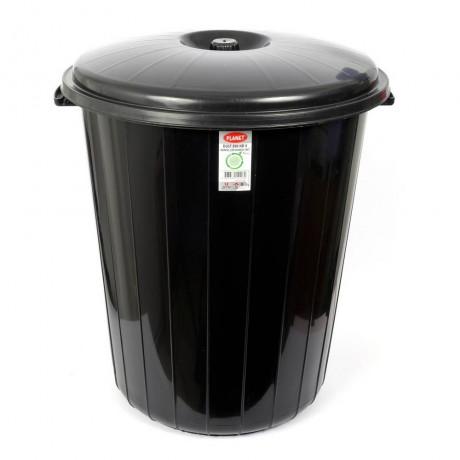 70 л голям черен кош за боклук с горен капак Planet