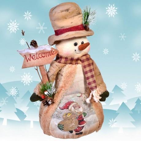 Коледен снежен човек седнал