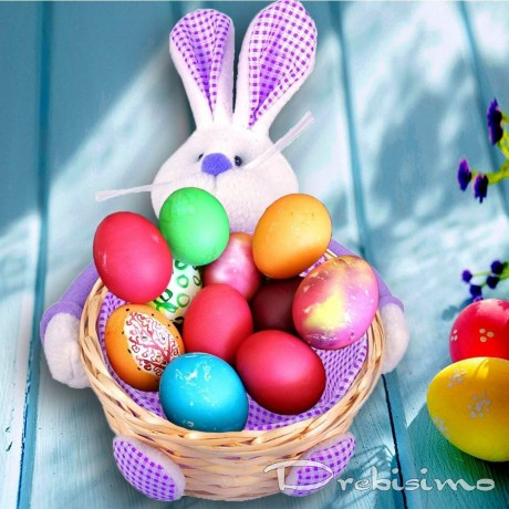Лилава великденска кошница за яйца - заек
