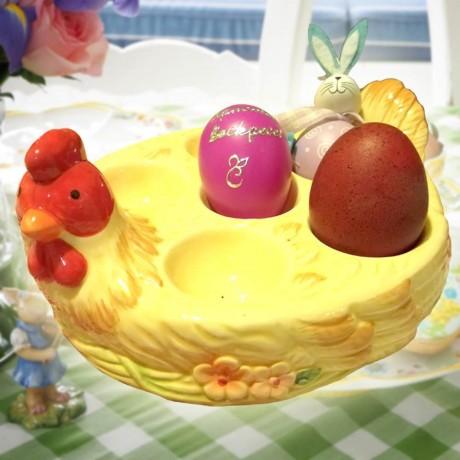 Керамична поставка за 6 великденски яйца - кокошка